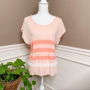 Sundry peach coral striped Dolan t shirt N0400